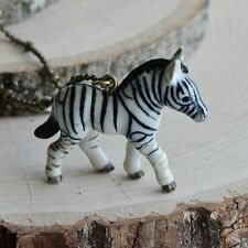 Bronze Chain Ceramic Safari Animal Hand Painted Porcelain Zebra Necklace Antique