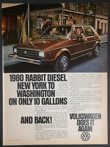 1980 Brown VW Volkswagen Rabbit Diesel Car Photo City Street Vintage Print Ad