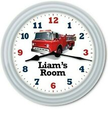 Personalized Firetruck Fireman Wall Clock - Rescue Boys Kids Bedroom Decor Gift