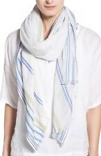 NWT EILEEN FISHER BLUE WHITE HANDLOOMED ORGANIC COTTON CARAVAN STRIPE SCARF RT98