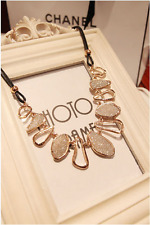 Elegant White/Black 14k Gold Plated Leather Chain Pendant Necklace