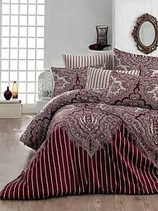 Bettwäsche 200x200 cm Bettgarnitur Bettbezug Baumwolle Kissen 5 tlg LALE BORDO