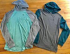 LOT BILLABONG MENS L-XL Essential HOODED L/S SHIRT T-Shirts Ocular Gray Green
