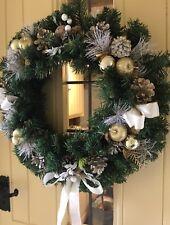 Christmas Door Wreath Luxury Quality Cones Berries Apples Gold Cream White 50cm