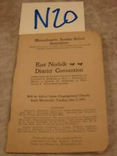 N20B Vintage 1897 Massachusetts Sunday School Association Convention Booklet