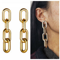 Trendy Women Geometric Statement Drop Dangle Earrings Huge Long Chain Jewelry