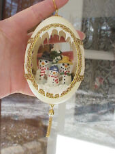 REAL Hand Carved Goose Egg Gift Collectible Ornament Winter Snowman Family