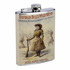 Vintage Cowgirl Hip Flask D10 8oz Stainless Steel Old Fashioned Retro