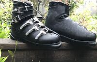 Vintage Nordica Black Leather Ski Boots Men's Size 10