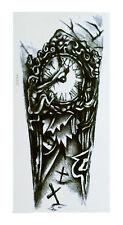 Temporary Fake Einmal Tattoo Arm Wadentattoo Zombie Uhr Kreuz Clock Rome HB-035