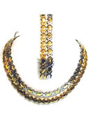 Hugs And Kisses Gold & Two Tone Hearts Necklace And 2sets Bracelet Set