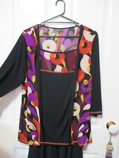 Ladies Plus size 20 Blouse black and multi coloured 3/4 sleeves Eversun Label