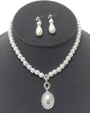 Brautschmuck Schmuckset Kette Set Ohrringe Anhänger Perlen Weiß Kristall klar