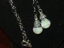 OPAL NECKLACE FLOATING AUSTRALIAN  OPALS SNOW GLOBES  PENDANT NECKLACE