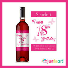 Personalised 18th Birthday Pink Wine Label Gift