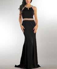 Black Evening Gown Size 14 Maxi Dress Sleeveless Bead Accent Yoke Neck BNWT P-20