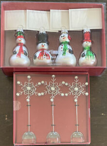 NIB Pier 1 Imports 3 Snowflake Photo Holders & 4 Snowman Place Card Holders