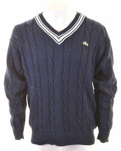 LACOSTE Mens V-Neck Jumper Sweater Size 4 Medium Navy Blue Cotton FP10