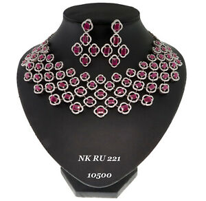 Cubic Zirconia Red Royal Look Designer Choker Necklace Earring Set 112 RN 5