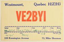 Vintage Westmount Quebec Canada  QSL Card Amateur Radio 1973