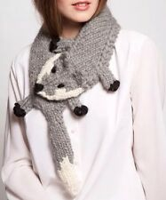 EUGENIA KIM GREY WHITE WOOL HAND KNITTED FOX SCARF STOLE