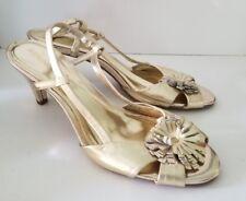Merona gold metallic leather slingback floral heels. 10