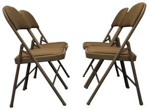 Meta Deluxe Brown Fabric Padded Folding Chair Comfortable Seat (4 Piece Set)