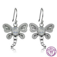 Charm 925 Silver Round Natural Moonstone Butterfly/Dragonfly Design Hook Earring