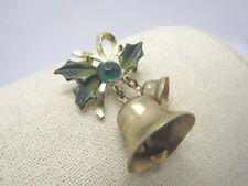 Vintage Christmas Bells Brooch, Enameled Holly, Green Rhinestone, 1960's