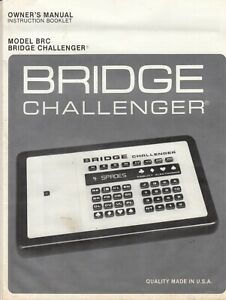 FIDELITY ELECTRONICS BRIDGE CHALLENGER BIDDING SYSTEM GAME BOOKLET INSTRUCTIONS