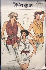 Very easy Vogue pattern 9221 Misses' Cutaway Arm Sleeveless Blouse size 6, 8