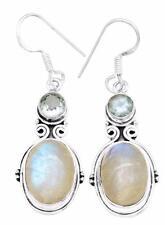 Rainbow Moon Stone Blue Topaz Earrings Solid 925 Silver Jewelry IE21286