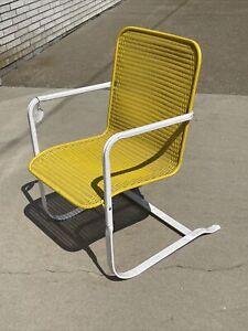 Vintage Yellow Mid Century LLOYD LooM Flanders Wicker Bouncy Lounge PATIO Chair