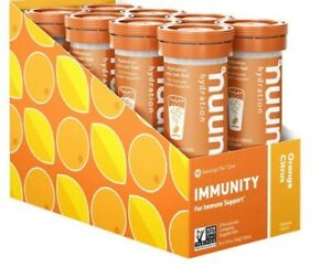 NEW Nuun Hydration Immunity - Case of 8 Tubes -Orange Citrus Best By 5/2021 E3A