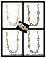 1 Natural Shanklin Rope Curtain Tieback - Knot Style Tie Back - Per single