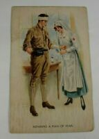 Vintage MAN OF WAR Greeting Card 1918 Rare Posted Antique Postcard Collectible