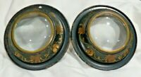 2 Vintage Metal Round Black w Gold Flowers Dome Picture Frames