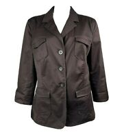 CHARTER CLUB Solid All Brown 3/4 Sleeve Button Down Jacket Womens Size XL