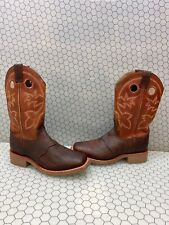 Double H Brown Leather Square Toe Pull On Western Work Boots Men's Size 9.5 D