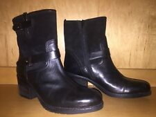 Clarks Ladies Sz 10 Black Leather Suede Boots Ankle Straps Zipper 2in Heel New