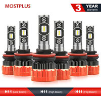 H11+H11 Combo LED Headlight Hi/Lo+ H8/H9/H11 Fog Light Bulbs 6000K Total 3 Sets