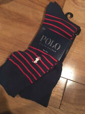 new POLO Ralph Lauren dress SOCKS lot of 2 pair navy blue red striped men's