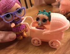 Toy Dolls Big Sis Lil Sister Pets Stroller LOL Dollhouse Miniature NO DOLL Pink