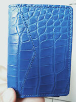 Crocodile Leather Credit Card Holder DOUBLE SIDE Genuine Alligator BLUE