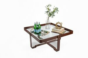 """40"""" W Square Cocktail Table Glass Black Leather Belt Accents Modern Transitional"""