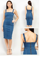 UK Womens Denim Strap Dungaree Dress Denim Pinafore Skirt Midi Dress