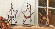 Primitive Vintage Metal Hangin Star On Stand Tealight Candle Holder Black Stress