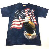 THE MOUNTAIN Bald Eagle American Flag USA T-Shirt Size M Tie Dyed Blue EUC