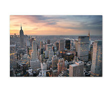 120x80cm Wandbild auf Leinwand New York City skyline Hochhäuser Sinus Art