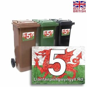 A5 [4 X Pack] - Welsh Flag Rustic Style, Personalised Wheelie Bin Sticker / V...